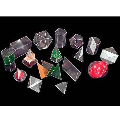 Набор геометрических тел прозрачных с сечением (разборный) 18 шт