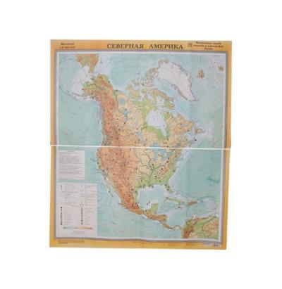Карта Северная Америка физическая 2 листа лам. 115х134