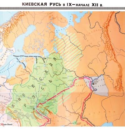 Карта Киевская Русь в IX - начале XII вв. 2 листа лам. 140х104