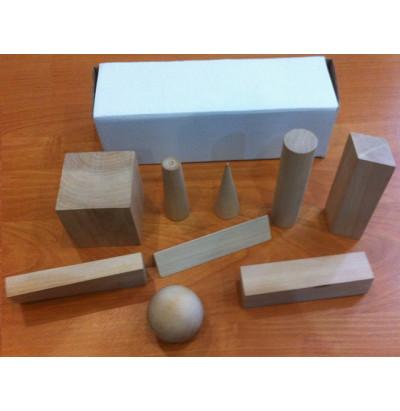 Набор Геометрические тела деревянные (9 фигур)