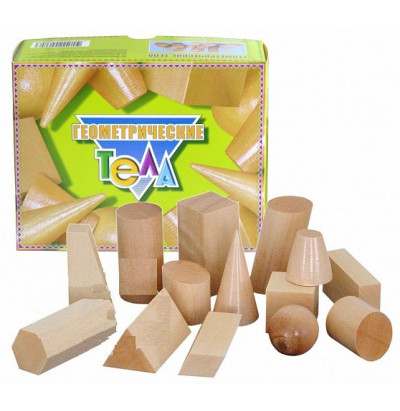 Набор Геометрические тела деревянные (14 фигур)